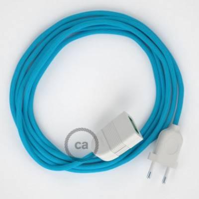 Alargador eléctrico con cable textil RM11 Efecto Seda Celeste 2P 10A Made in Italy.