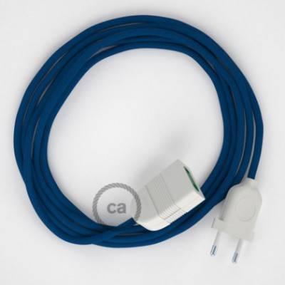 Alargador eléctrico con cable textil RM12 Efecto Seda Azul 2P 10A Made in Italy.