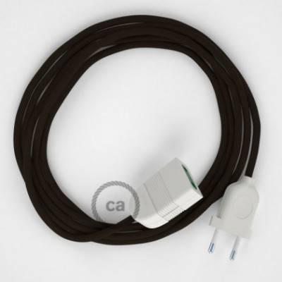 Alargador eléctrico con cable textil RM13 Efecto Seda Marrón 2P 10A Made in Italy.