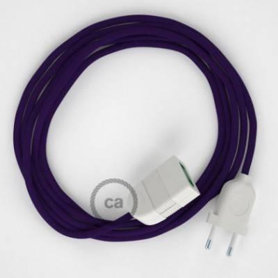 Alargador eléctrico con cable textil RM14 Efecto Seda Púrpura 2P 10A Made in Italy.