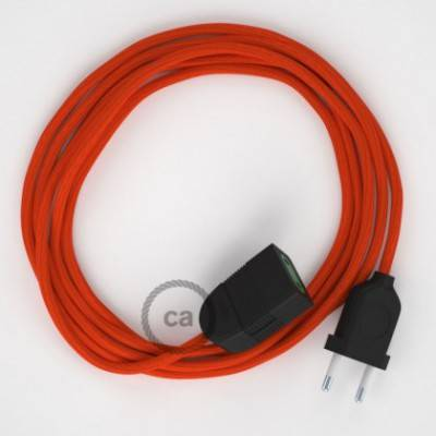 Alargador eléctrico con cable textil RM15 Efecto Seda Naranja 2P 10A Made in Italy.