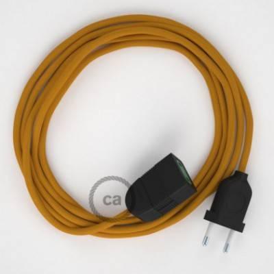 Alargador eléctrico con cable textil RM25 Efecto Seda Mostaza 2P 10A Made in Italy.