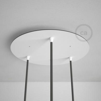 Rosetón XXL circular 35cm a 3 agujeros blanco completo de accesorios