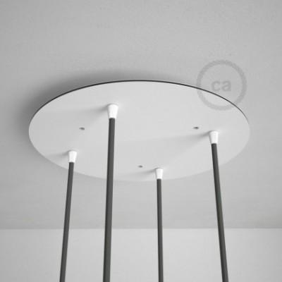 Rosetón XXL circular 35cm a 4 agujeros blanco completo de accesorios