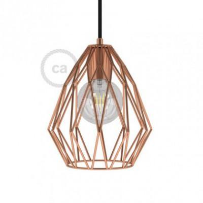 Jaula lámpara desnuda Gem metal acabados Cobre con portalámpara E27