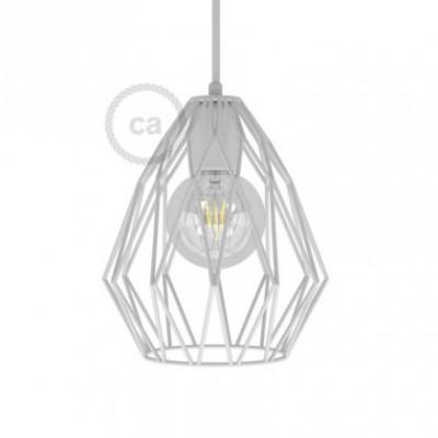 Jaula lámpara desnuda Gem metal Blanco con portalámpara E27