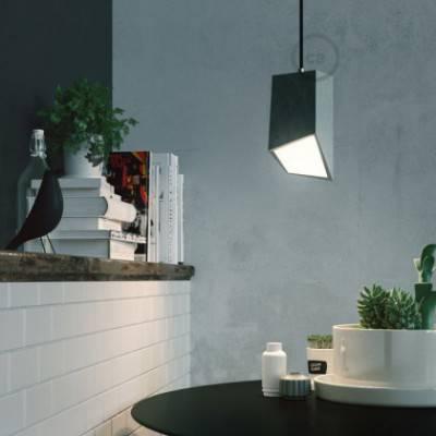 Pantalla de cemento Prisma completo de prensaestopa y portalámpara E27