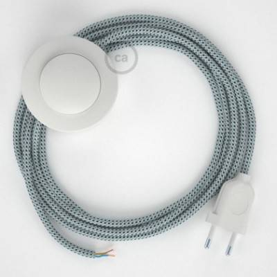 Cableado para lámpara de pie, cable RT14 Efecto Seda Stracciatella 3 m. Elige tu el color de la clavija y del interruptor!