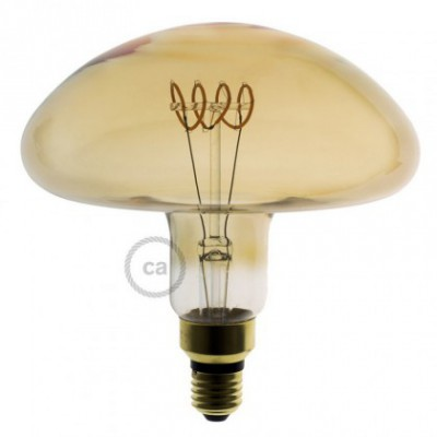 Bombilla Dorada LED XXL Seta Filamento Curvado con Espiral horizontal 5W E27 Dimmable 2000K