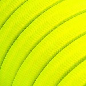 Cable eléctrico para Guirnalda recubierto en tejido Efecto Seda Amarillo Fluo CF10