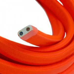 Cable eléctrico para Guirnalda recubierto en tejido Efecto Seda Naranja Fluo CF15