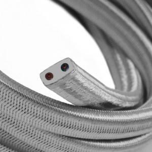 Cable eléctrico para Guirnalda recubierto en tejido Efecto Seda Plata CM02