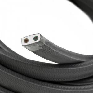 Cable eléctrico para Guirnalda recubierto en tejido Efecto Seda Gris CM03