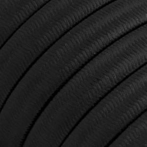 Cable eléctrico para Guirnalda recubierto en tejido Efecto Seda Negro CM04