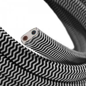 Cable eléctrico para Guirnalda recubierto en tejido Efecto Seda ZigZag Negro y Blanco CZ04