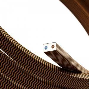 Cable eléctrico para Guirnalda recubierto en tejido Efecto Seda ZigZag Negro y Whisky CZ22