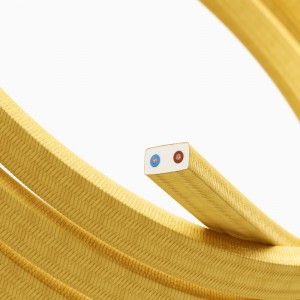Cable eléctrico para Guirnalda recubierto en tejido Efecto Seda Amarillo CM10