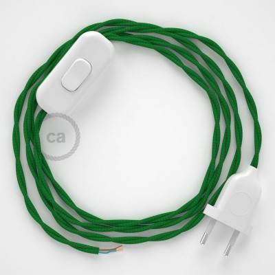 Cableado para lámpara, cable TM06 Efecto Seda Verde 1,8m. Elige tu el color de la clavija y del interruptor!