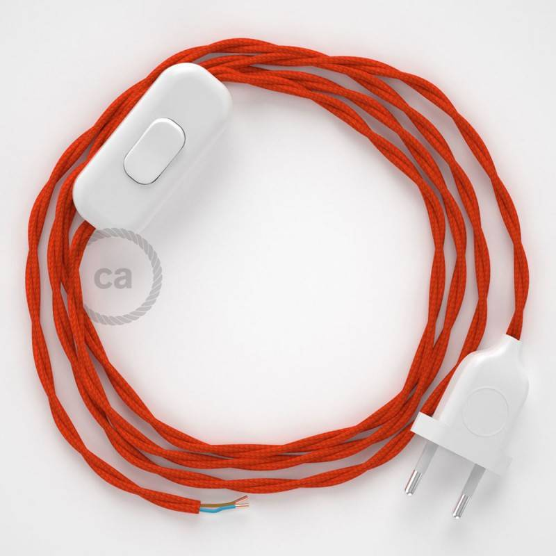 Cableado para lámpara, cable TM15 Efecto Seda Naranja 1,8m. Elige tu el color de la clavija y del interruptor!