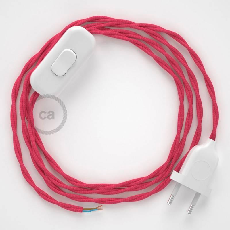 Cableado para lámpara, cable TM08 Efecto Seda Fuchsia 1,8m. Elige tu el color de la clavija y del interruptor!