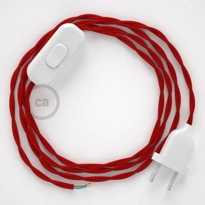 Cableado para lámpara, cable TM09 Efecto Seda Rojo 1,8m. Elige tu el color de la clavija y del interruptor!
