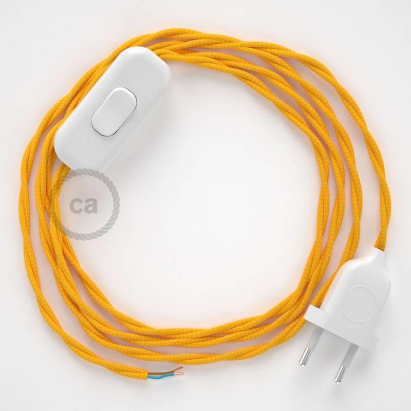 Cableado para lámpara, cable TM10 Efecto Seda Amarillo 1,8m. Elige tu el color de la clavija y del interruptor!