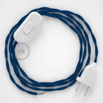 Cableado para lámpara, cable TM12 Efecto Seda Azul 1,8m. Elige tu el color de la clavija y del interruptor!