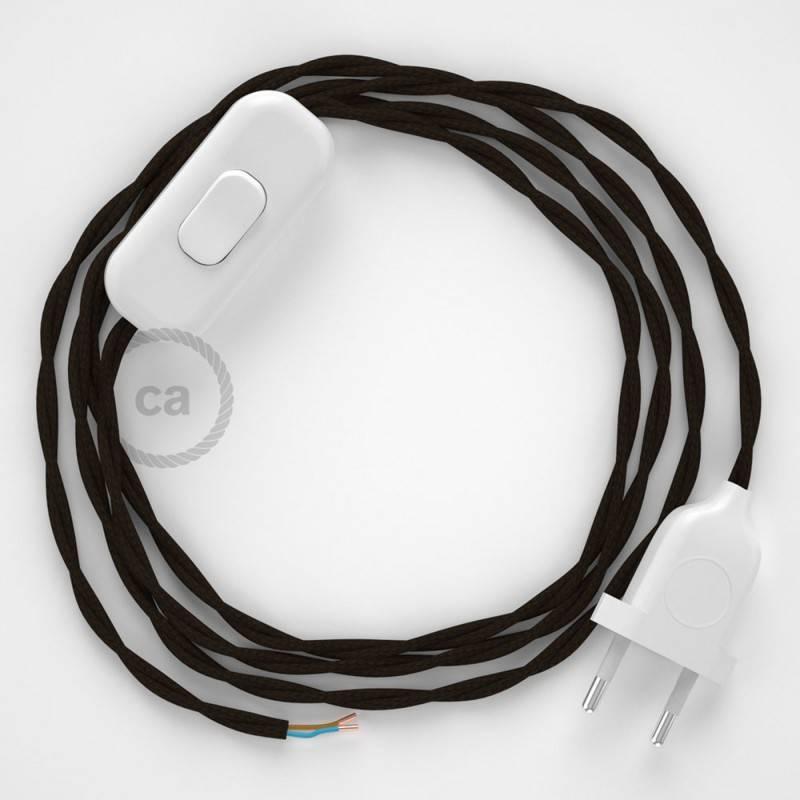 Cableado para lámpara, cable TM13 Efecto Seda Marrón 1,8m. Elige tu el color de la clavija y del interruptor!