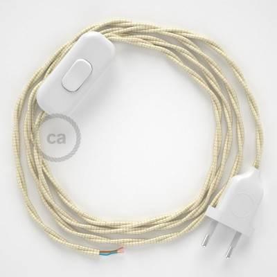 Cableado para lámpara, cable TM00 Efecto Seda Marfil 1,8m. Elige tu el color de la clavija y del interruptor!