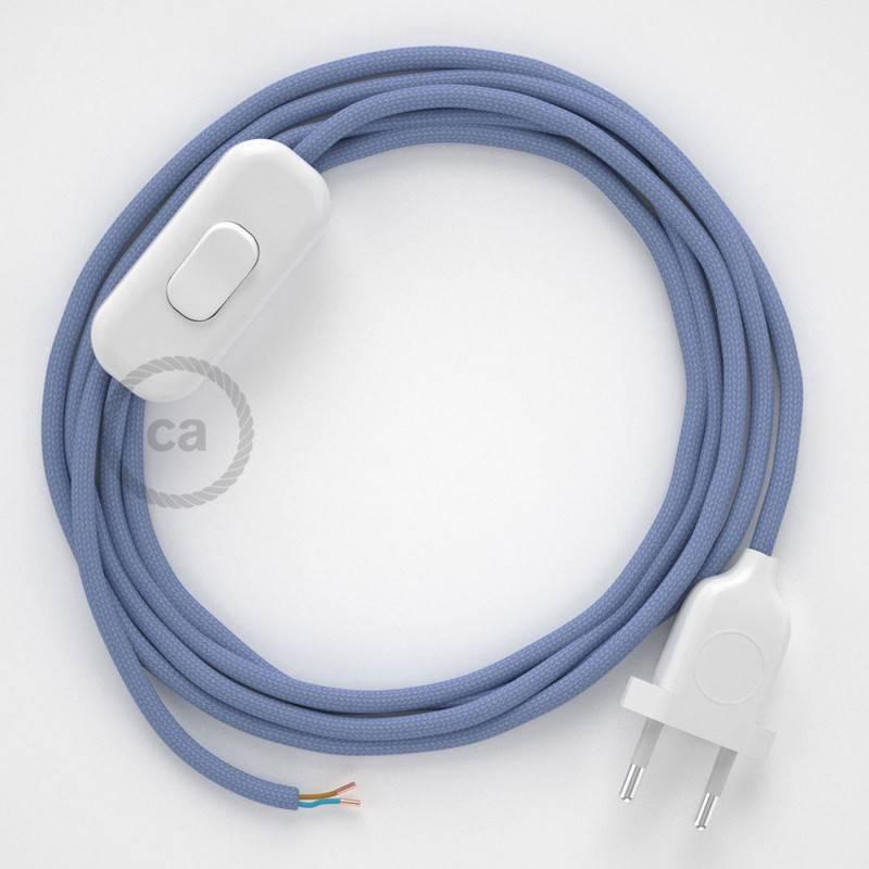Cableado para lámpara, cable RM07 Efecto Seda Lila 1,8m. Elige tu el color de la clavija y del interruptor!