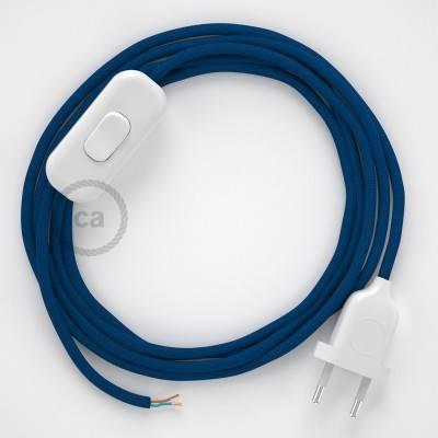 Cableado para lámpara, cable RM12 Efecto Seda Azul 1,8m. Elige tu el color de la clavija y del interruptor!