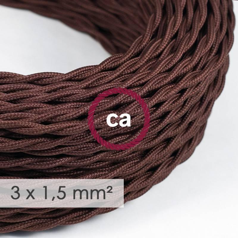 Cable electrico de sección grande 3x1,50 trenzado - Tejido Efecto Seda Marrón TM13