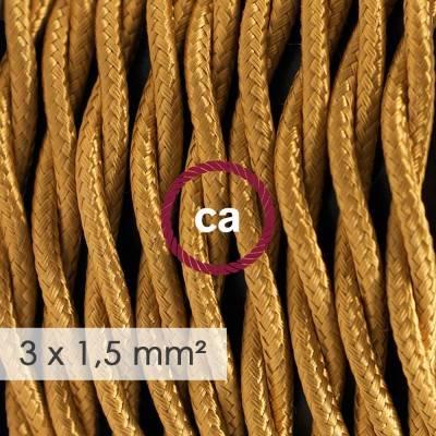 Cable electrico de sección grande 3x1,50 trenzado - Tejido Efecto Seda Dorado TM05