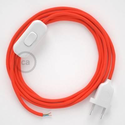 Cableado para lámpara, cable RF15 Efecto Seda Naranja Flùo 1,8m. Elige tu el color de la clavija y del interruptor!