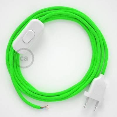 Cableado para lámpara, cable RF06 Efecto Seda Verde Flùo 1,8m. Elige tu el color de la clavija y del interruptor!