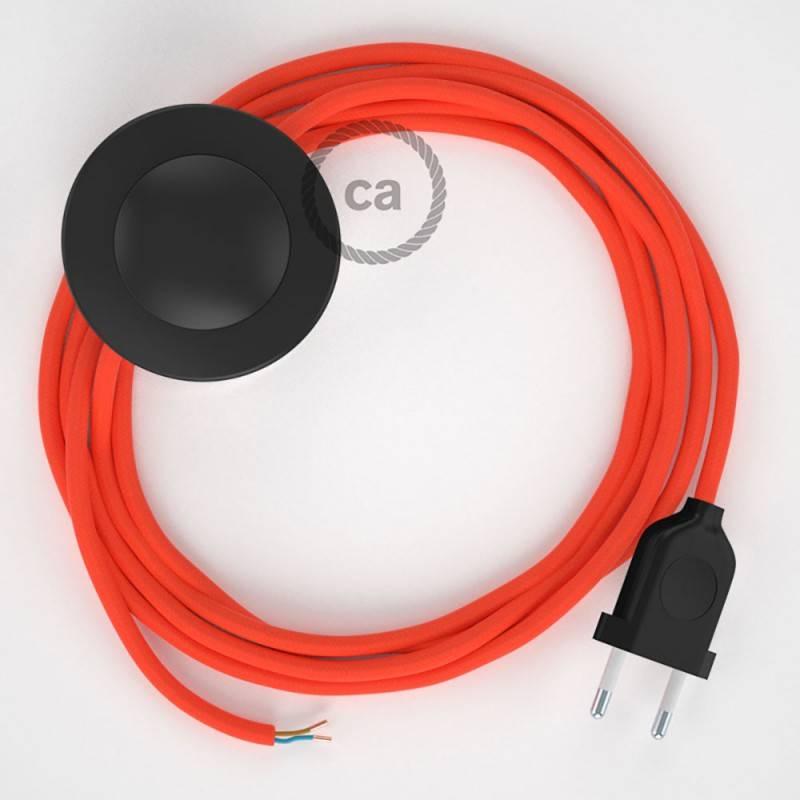 Cableado para lámpara de pie, cable RF15 Efecto Seda Naranja Flùo 3 m. Elige tu el color de la clavija y del interruptor!