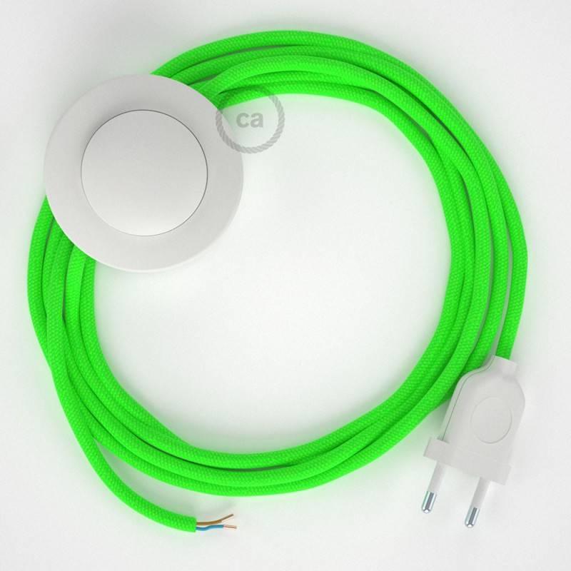 Cableado para lámpara de pie, cable RF06 Efecto Seda Verde Flùo 3 m. Elige tu el color de la clavija y del interruptor!