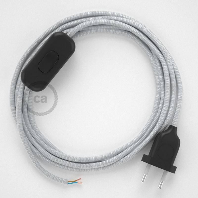 Cableado para lámpara, cable RM02 Efecto Seda Plateado 1,8m. Elige tu el color de la clavija y del interruptor!