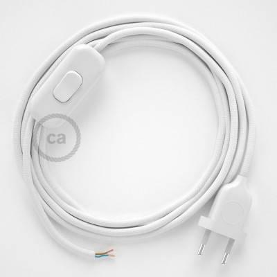 Cableado para lámpara, cable RM01 Efecto Seda Blanco 1,8m. Elige tu el color de la clavija y del interruptor!