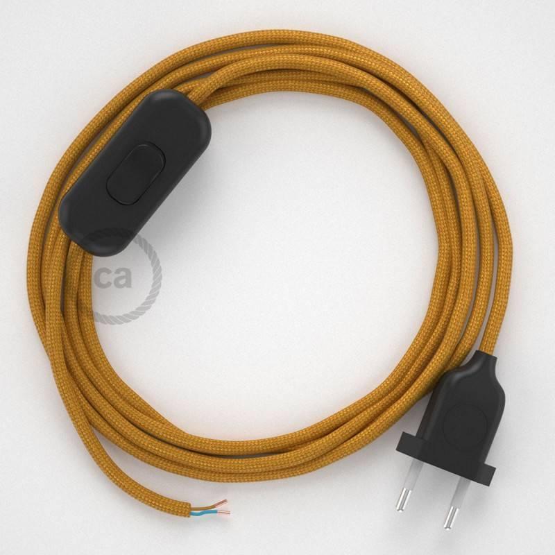 Cableado para lámpara, cable RM05 Efecto Seda Dorado 1,8m. Elige tu el color de la clavija y del interruptor!