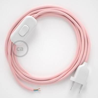 Cableado para lámpara, cable RM16 Efecto Seda Rosa Bebé 1,8m. Elige tu el color de la clavija y del interruptor!