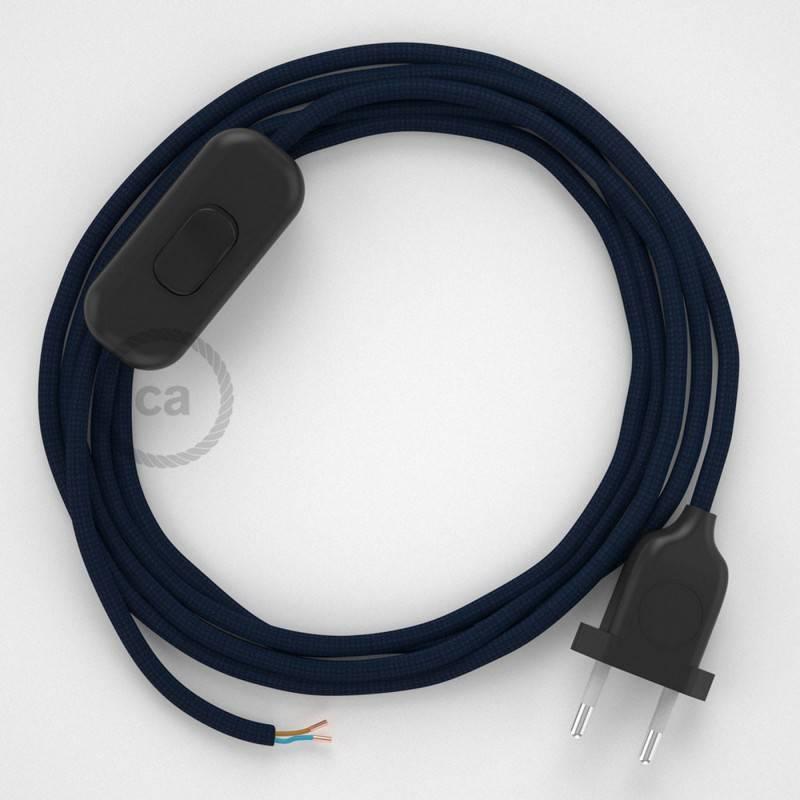 Cableado para lámpara, cable RM20 Efecto Seda Azul Marino 1,8m. Elige tu el color de la clavija y del interruptor!