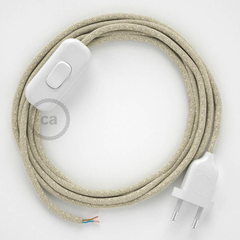 Cableado para lámpara, cable RN01 Lino Natural Neutro 1,8m. Elige tu el color de la clavija y del interruptor!