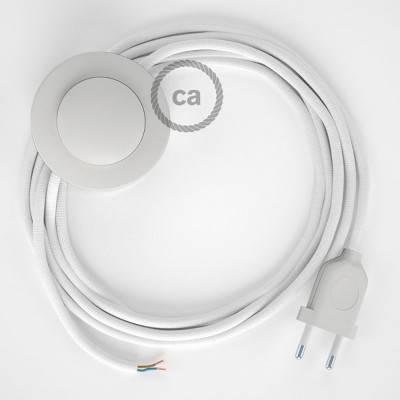 Cableado para lámpara de pie, cable RM01 Efecto Seda Blanco 3 m. Elige tu el color de la clavija y del interruptor!