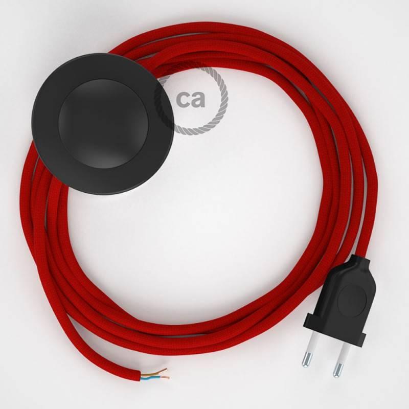Cableado para lámpara de pie, cable RM09 Efecto Seda Rojo 3 m. Elige tu el color de la clavija y del interruptor!
