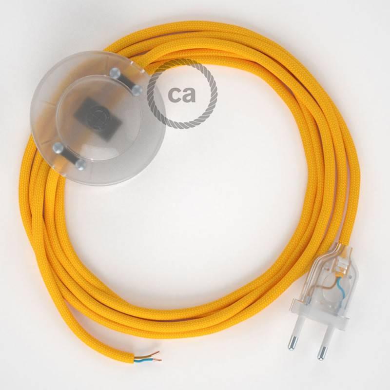 Cableado para lámpara de pie, cable RM10 Efecto Seda Amarillo 3 m. Elige tu el color de la clavija y del interruptor!