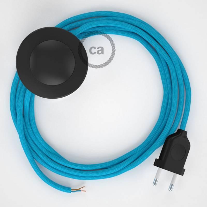 Cableado para lámpara de pie, cable RM11 Efecto Seda Celeste 3 m. Elige tu el color de la clavija y del interruptor!