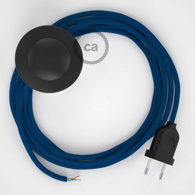 Cableado para lámpara de pie, cable RM12 Efecto Seda Azul 3 m. Elige tu el color de la clavija y del interruptor!