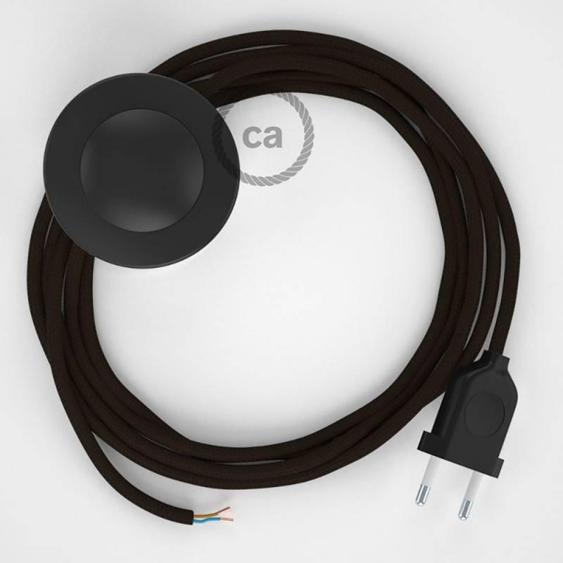 Cableado para lámpara de pie, cable RM13 Efecto Seda Marrón 3 m. Elige tu el color de la clavija y del interruptor!