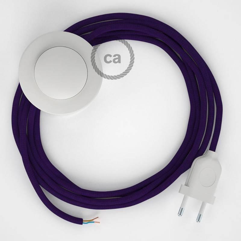 Cableado para lámpara de pie, cable RM14 Efecto Seda Púrpura 3 m. Elige tu el color de la clavija y del interruptor!